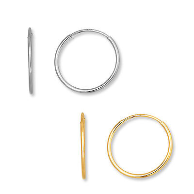 Real 14k Yellow & White Gold Hoop Earrings Endless hoops 10mm TO 21mm SALE.