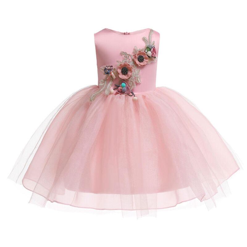 Mädchen Geburtstag Prinzessin Abendkleid Party Festlich Tutu Kleid Blumenmädchen