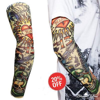 Temporary Tattoo Sleeve Nylon Arm Stocking Skull Halloween Mens Womens Kids UK - Halloween Tattoo Sleeve