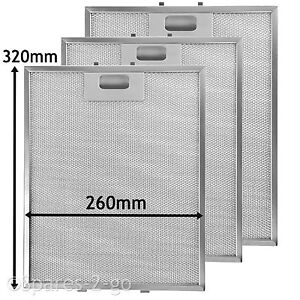 3 x  Mesh Filter Vent Filters for BELLING STOVES Cooker Hood  320 x 260 mm