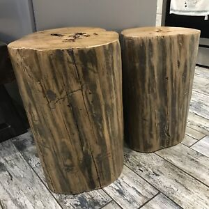 Set of 2 Rustic Reclaimed Wood Side Tables / Stools