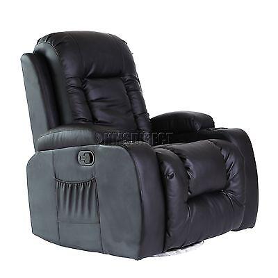 FoxHunter Leather Massage Cinema Recliner Sofa Chair Swivel Rocking MLS-02 Black