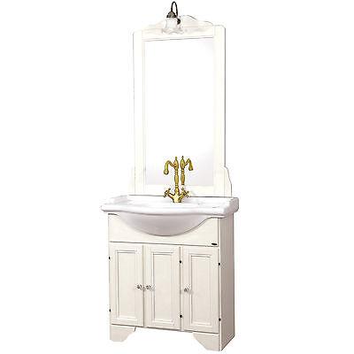Mobile bagno classico 75 cm in legno bianco decapato stile shabby con specchiera