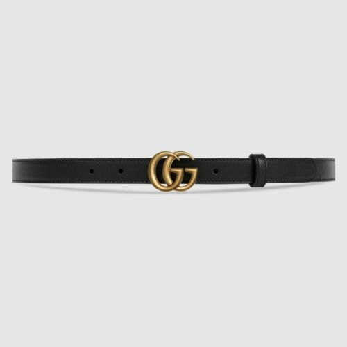 GUCCI Slim Marmont Leather Belt Double GG Buckle Black/Gold, Authentic - NEW