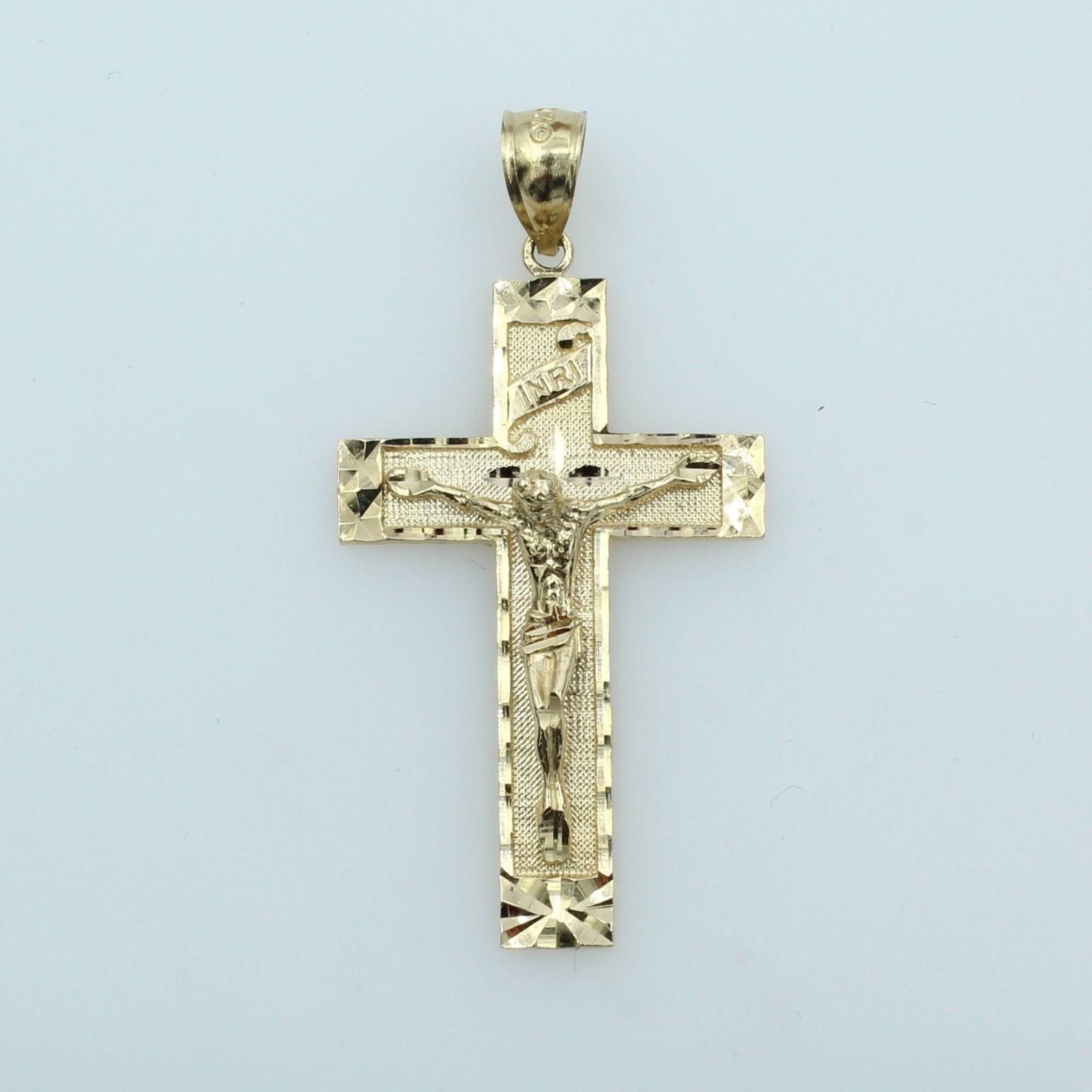 14K Yellow Gold Inri Crucifix Pendant C1344