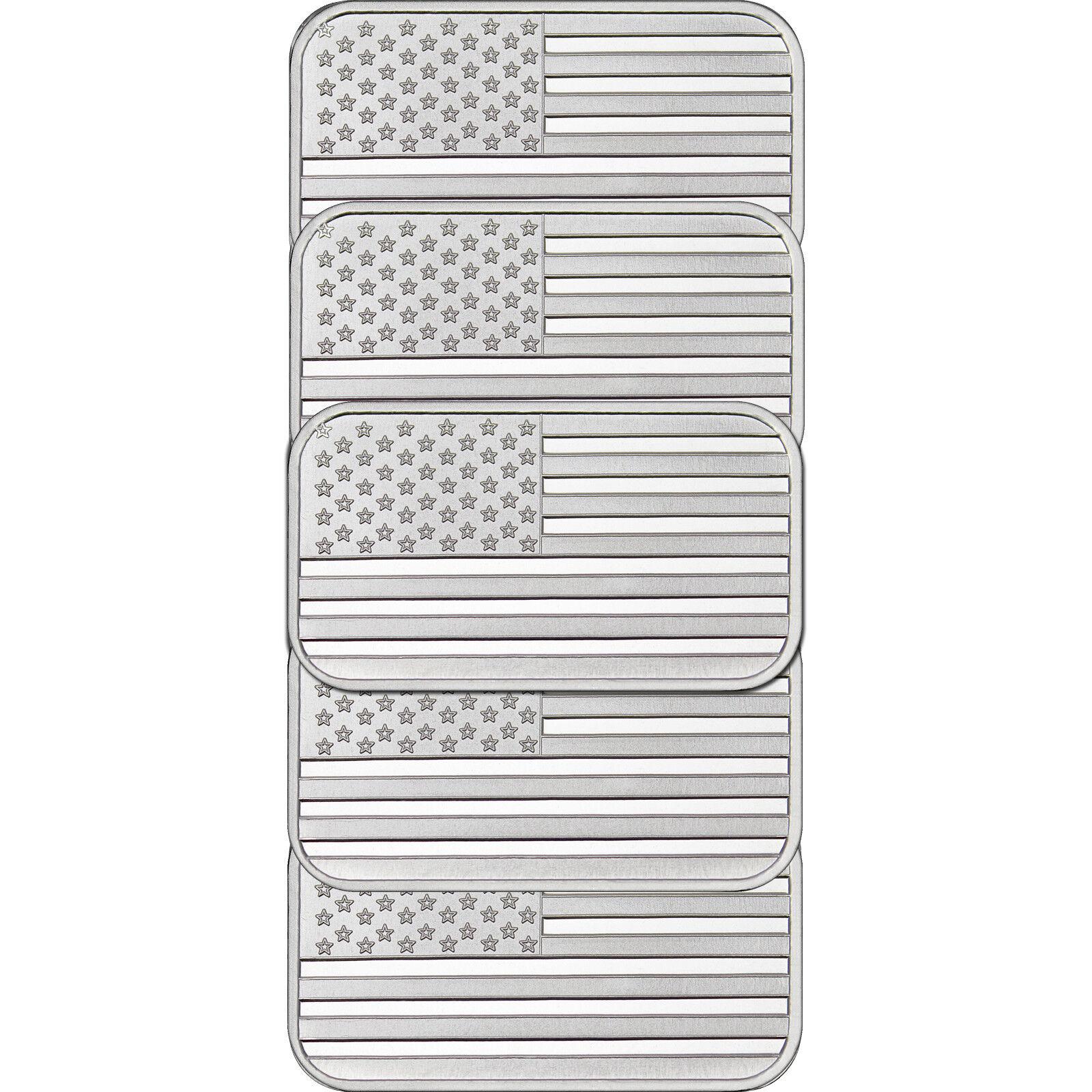 American Flag Bar by SilverTowne 1oz .999 Silver Bar- 5pc
