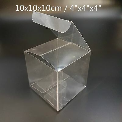 Clear Plastic PVC Boxes Party Favor Wedding Tuck Top Cube Box 4