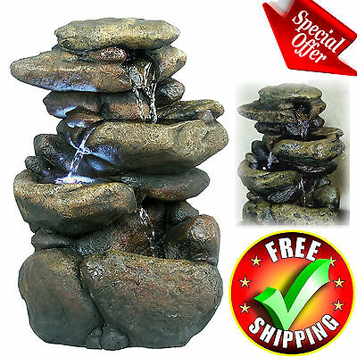 Patio Fountain With LED Lights Dishwater Garden Outdoor Lawn Yard Decor Decoration