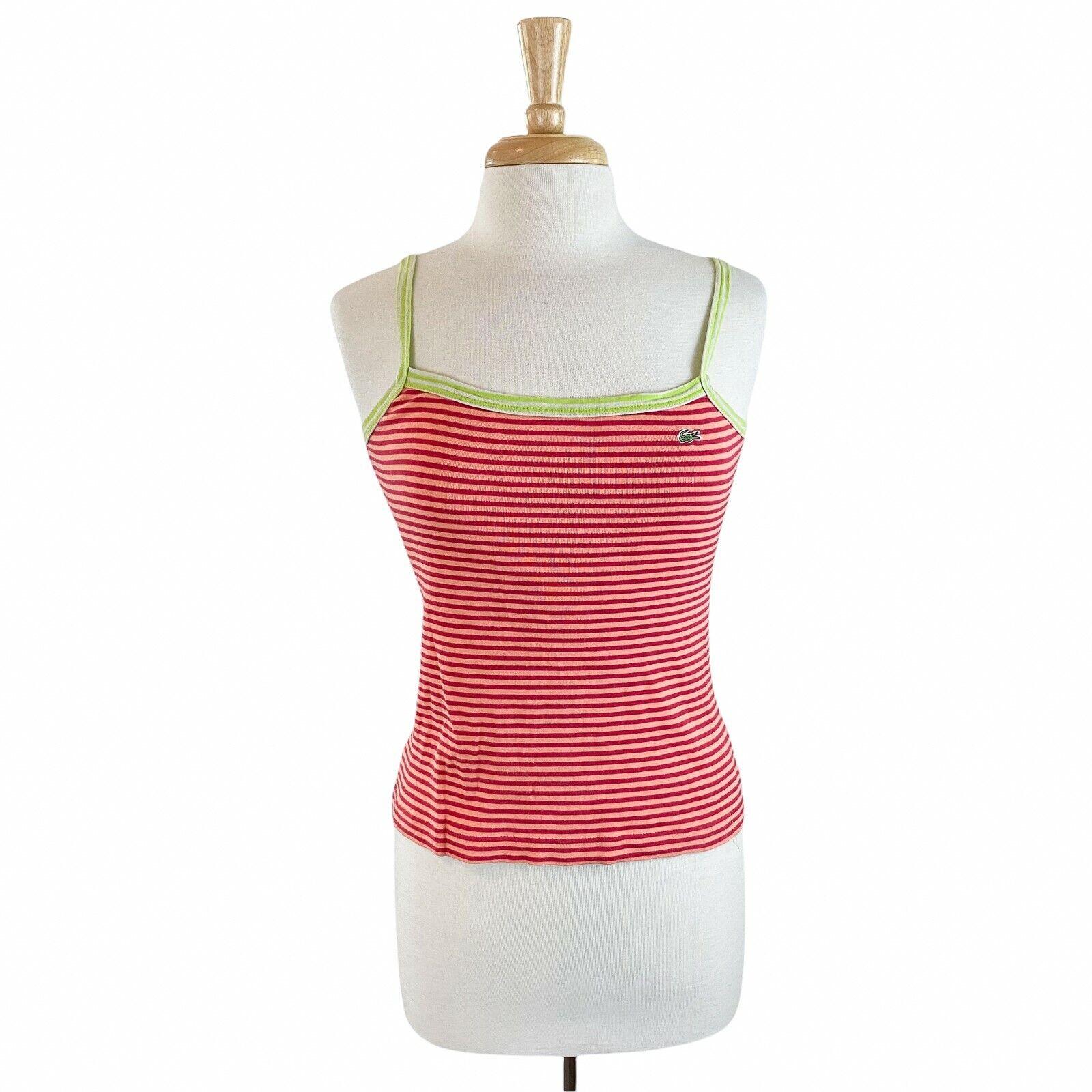 Lacoste Women s Orange Red Striped Pullover Tank Top Shirt Size 40 Medium - $24.99