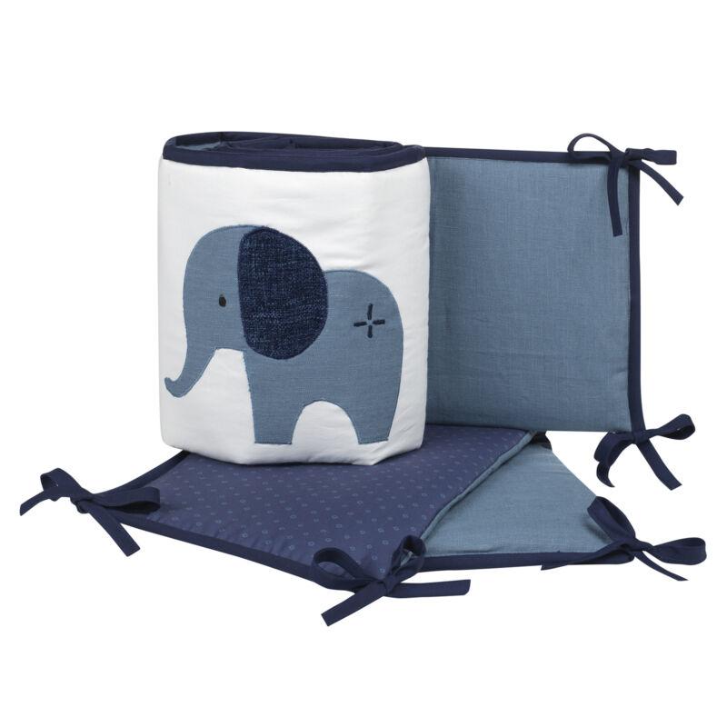 Lambs & Ivy Indigo Elephant Blue/White Safari 4-Piece Crib Bumper