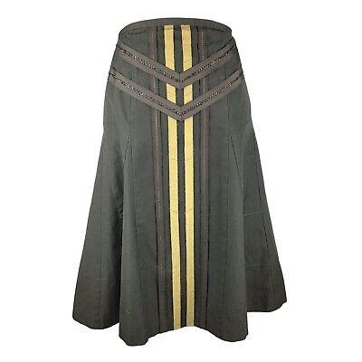 DKNY Women's A-Line Midi Skirt Military Green Sz 14 Beeded A-Line Flare Flounce