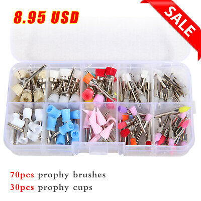 100dental Teeth Prophy Polishing Brushes Cups Mixed Screw Style Latch Type Kit