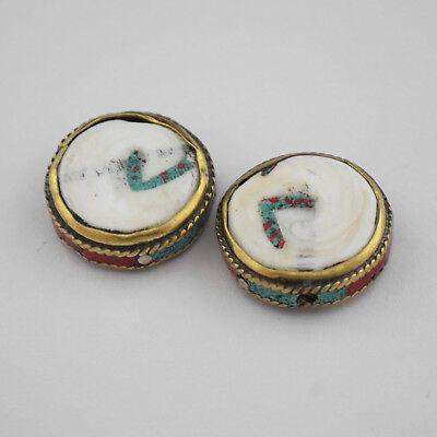 Conch Shell Turquoise Coral Brass 2 Beads Tibetan Nepalese Handmade Nepal UB2557