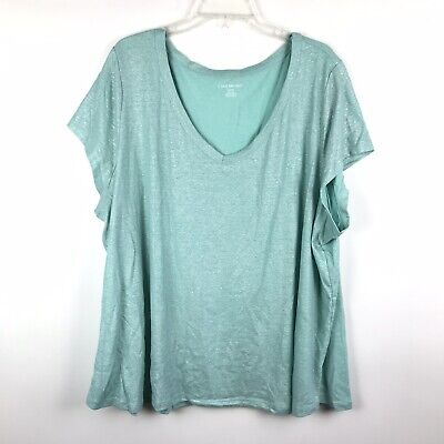 Lane Bryant Womens Plus Size 26/28 Light Blue Linen Blend Short Sleeve Shirt Top Plus Size Linen Blend Shirt