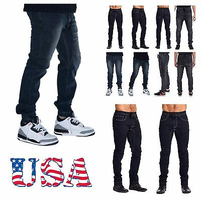 Mens Jogger Pants Elastic Washed Denim Jean Pants Urban Casual Trouser Hipster