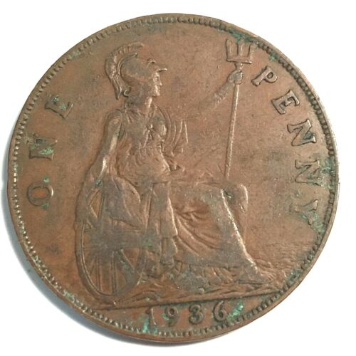 1936 UK Great Britain British One 1 Penny George V Coin