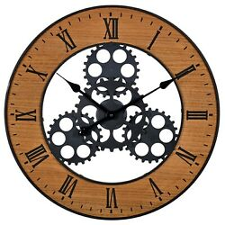 57cm Industrial Giant Wood Metal Wall Clock Large Roman Numerals Modern Gears