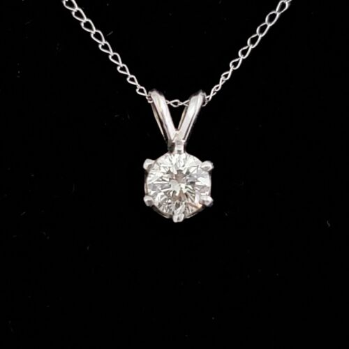 Diamond Solitaire Pendant on Chain 14k White Gold Necklace Estate Gift Jewelry