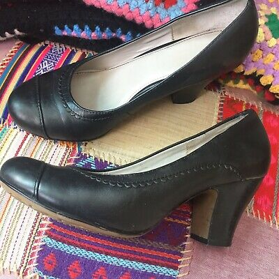 HUSH PUPPIES BLACK LEATHER COURT SHOES SIZE 6 WORK OFFICE CASUAL
