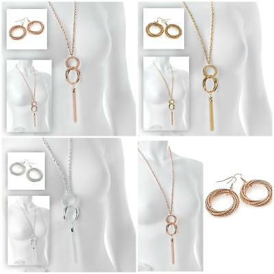 FASHION INTERLOCK CHAIN NECKLACE AND ROUND EARRING STYLISH IDEAL GIFT - Chain And Earring Gift Set