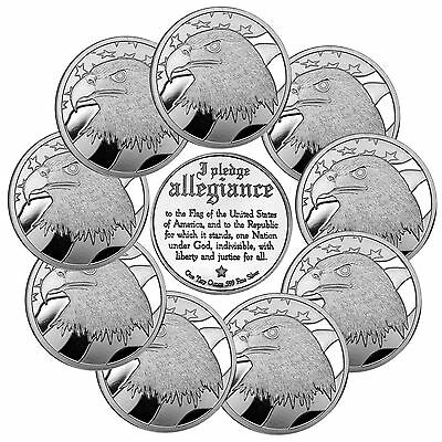 Pledge of Allegiance Silver Eagle 1oz .999 Silver Round by SilverTowne LOT OF 10