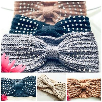Women's Diamante Knitted Ear Warmer Knot Knit Headband Crochet Bow Hat Hairband Knit Knot Hat