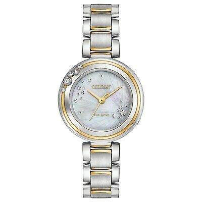 Citizen Eco-Drive Women's Carina Diamond Accents Two-Tone 28mm Watch EM0464-59D