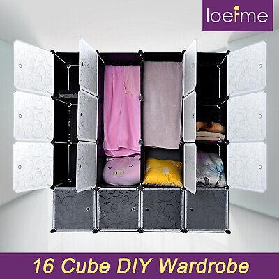 LOEFME 16 Cube DIY Plastic Wardrobe Cupboard Portable Modular Storage Organizer