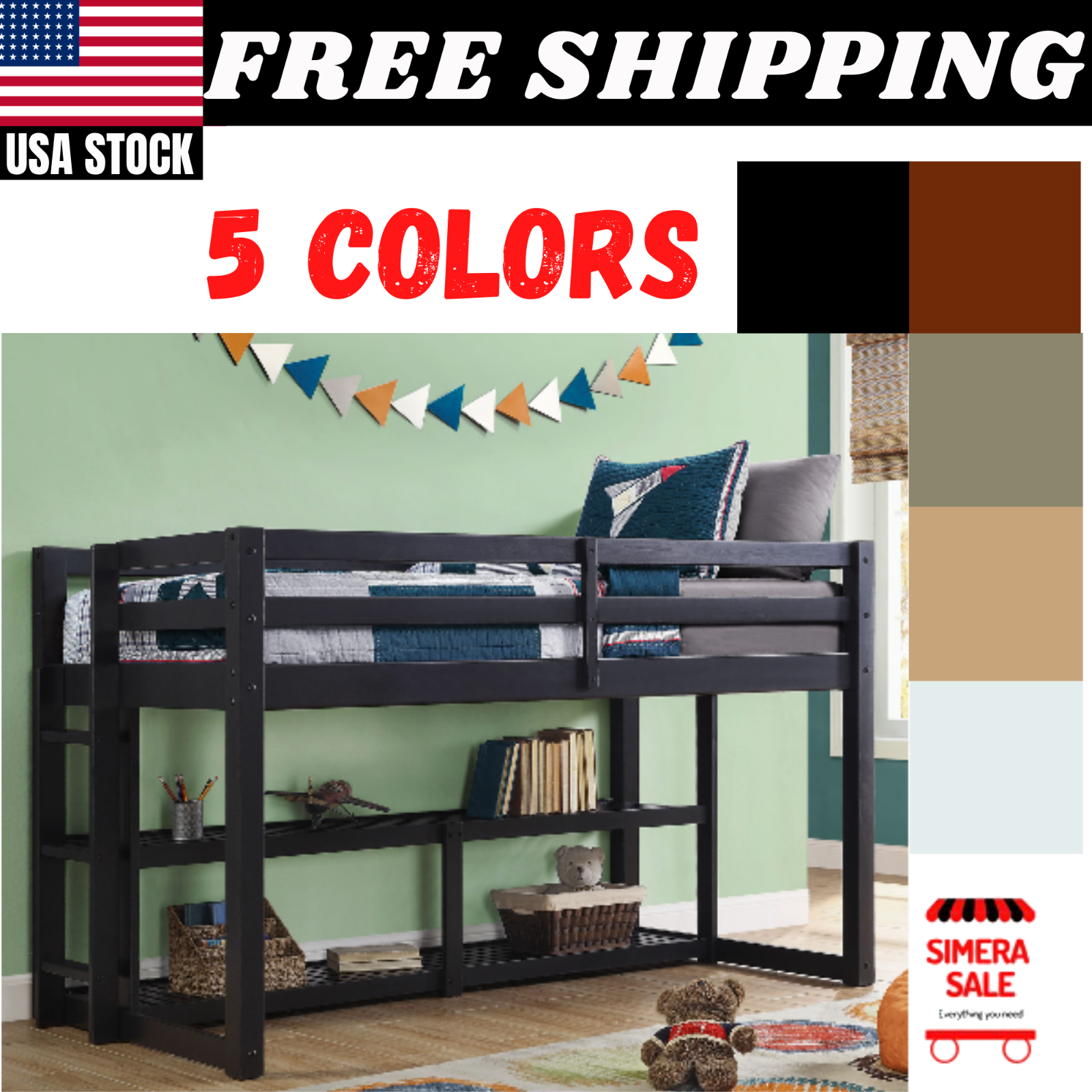 Twin Size Loft Bunk Bed Frame With Storage Ladder Guard Rails Multiple Colors Ebay