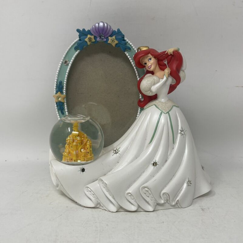 RARE Walt Disney Theme Parks Ariel The Little Mermaid Picture Frame Snow Globe