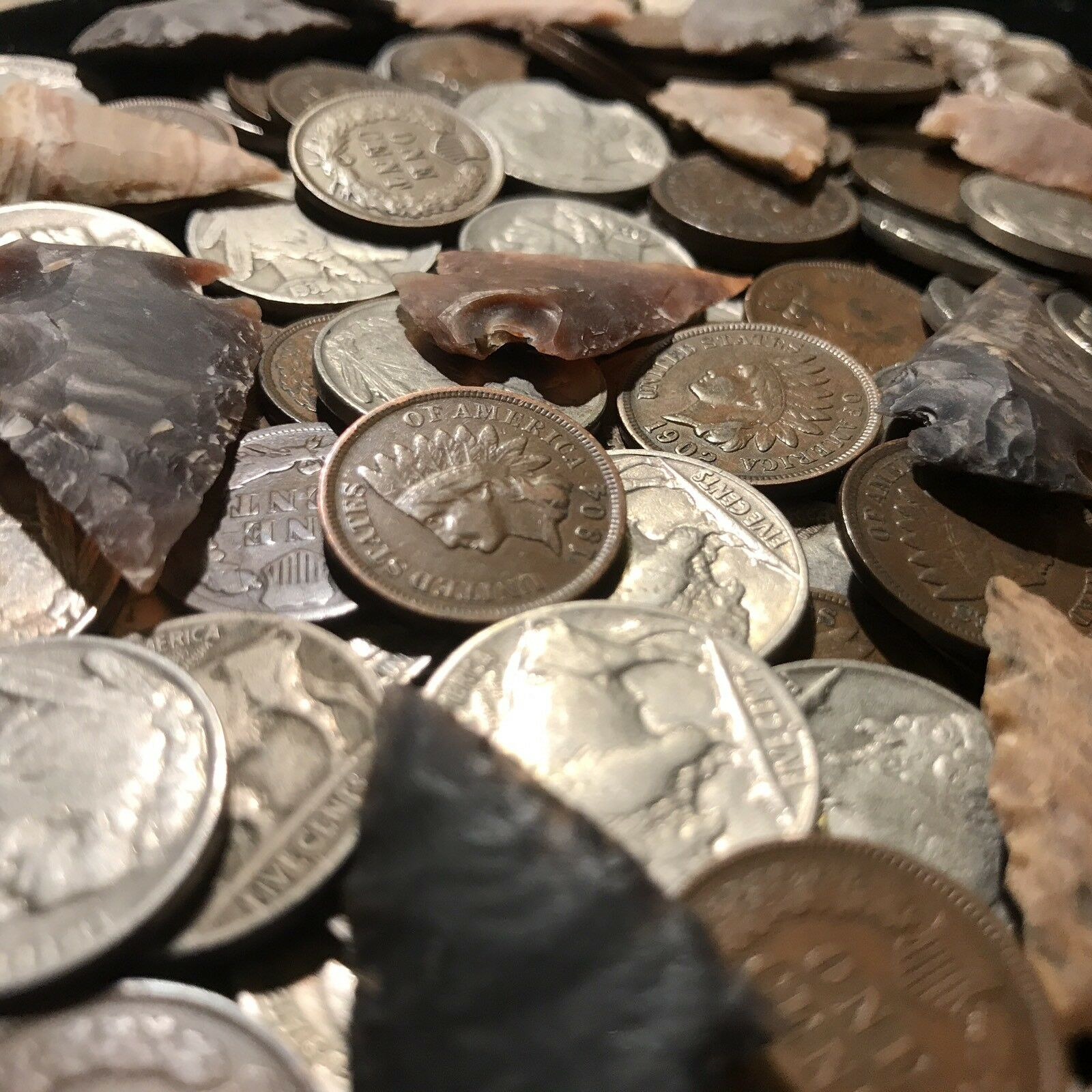 ✯ Native American Coin Artifact Lot ✯ Indian Head Cent Buffalo Nickel Arrowhead✯
