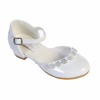 GIRLS Flower Rhinestones DRESS SHOES Pageant Birthday Wedding Church WHITE/IVORY - White Dress Ivory Shoes