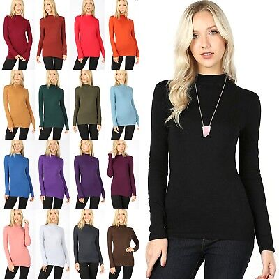 Mock Neck Long Sleeve Soft Stretch Cotton Turtleneck Slim Fit T-shirt Top GT3359 (Cotton Long Sleeve Mock Turtleneck)