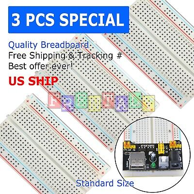 3pcs White Breadboard Syb-400 Tie-points Solderless Prototype Pcb Circuit Board