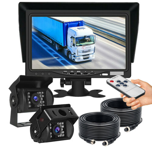 "2x 4Pin Rear View Backup Camera Night Vision System+7"" Monitor For RV Truck Bus"
