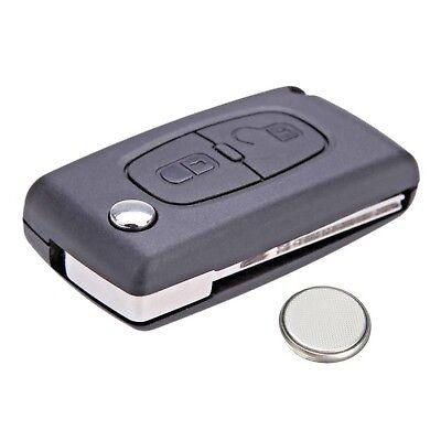 Peugeot 207 307 308 2 Button Remote Key Fob Case Service Kit + Battery + Logo