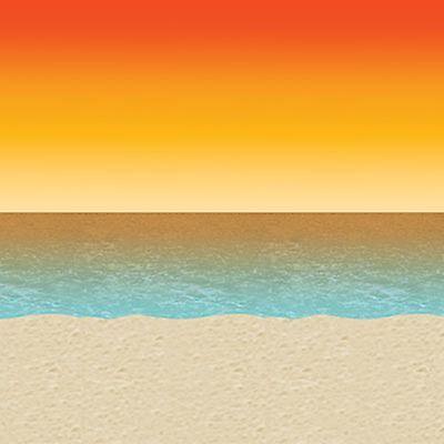 30ft Luau Sunset Beach Mural Tropical Scene Setter Photo Backdrop