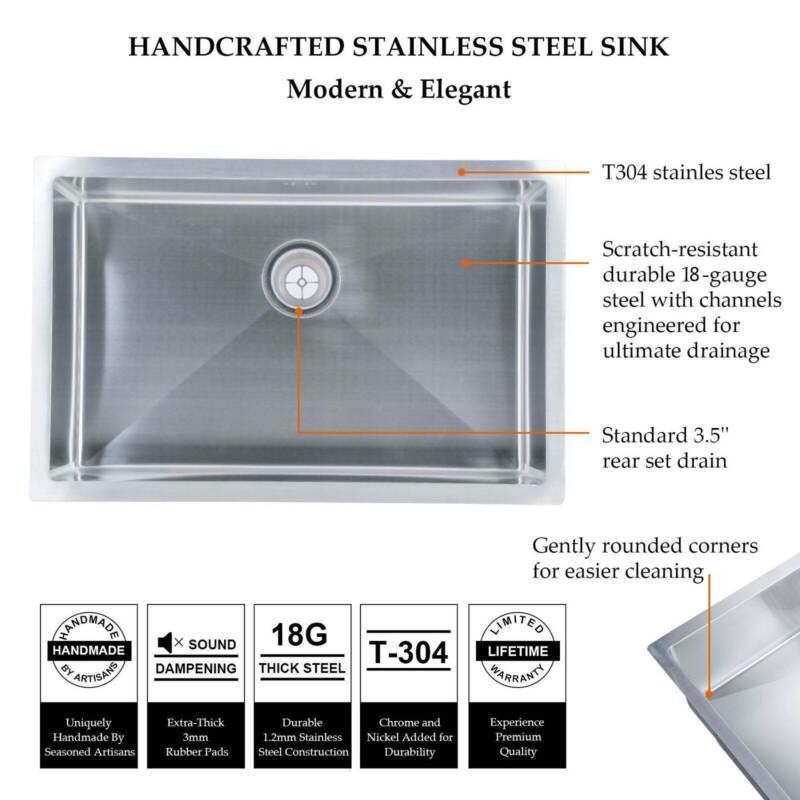 """18 Stainless Steel Undermount Single 18"""""""