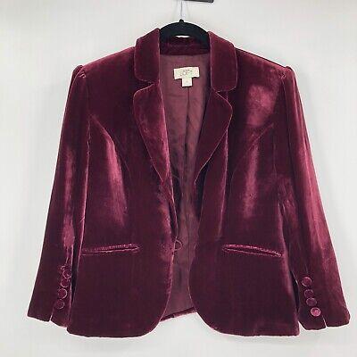 Ann Taylor Loft Maroon Velvet Blazer Jacket Sz 6 Cottagecore Lagenlook Flaws