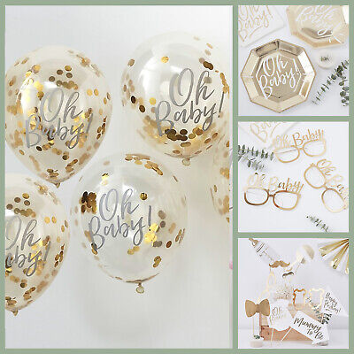 OH BABY! BABY SHOWER DECORATIONS Tableware Gender Neutral BABY CONFETTI BALLOONS - Gender Neutral Baby Shower Decorations
