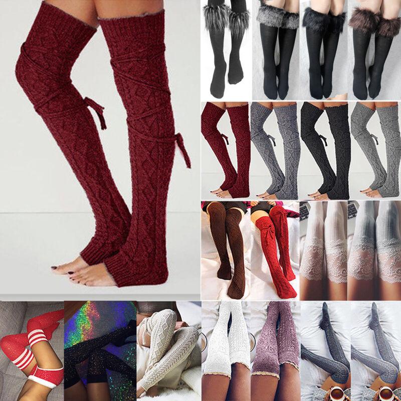 Damen Winter Überknie Overknee Strümpfe Lang Socken Strick Beinwärmer Stockings