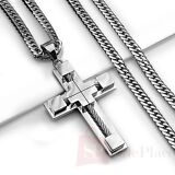 "24"" MENS Stainless Steel 6mm Silver Cuban Curb Link Chain Necklace Cross Pendant"