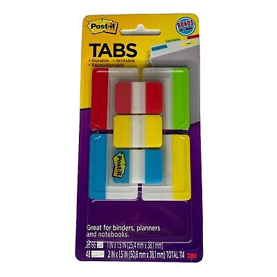 Post-it Tabs Value Pack Asst Primary Colors 1 And 2 Sizes 114