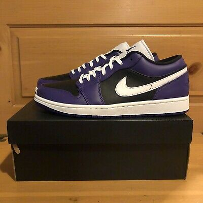 Nike Air Jordan 1 Low 553558-501 Court Purple Black Toe White Size 11