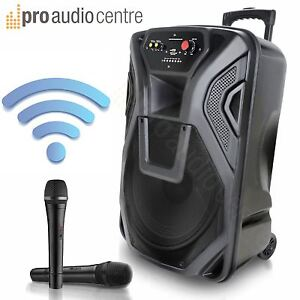 QTX QK12PA Portable Busker PA System Battery Powered Wireless Mics Bluetooth MP3