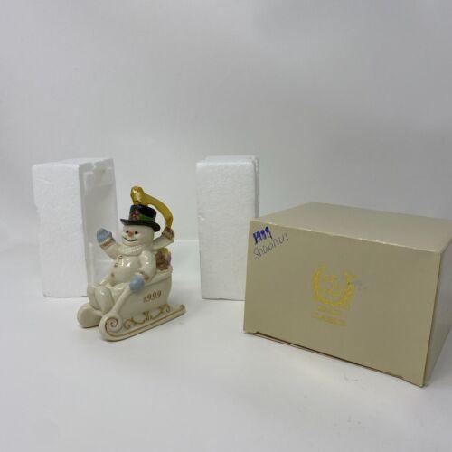 LENOX 1999 ANNUAL ORNAMENT - SNOWMAN IN A SLED W/ BOX
