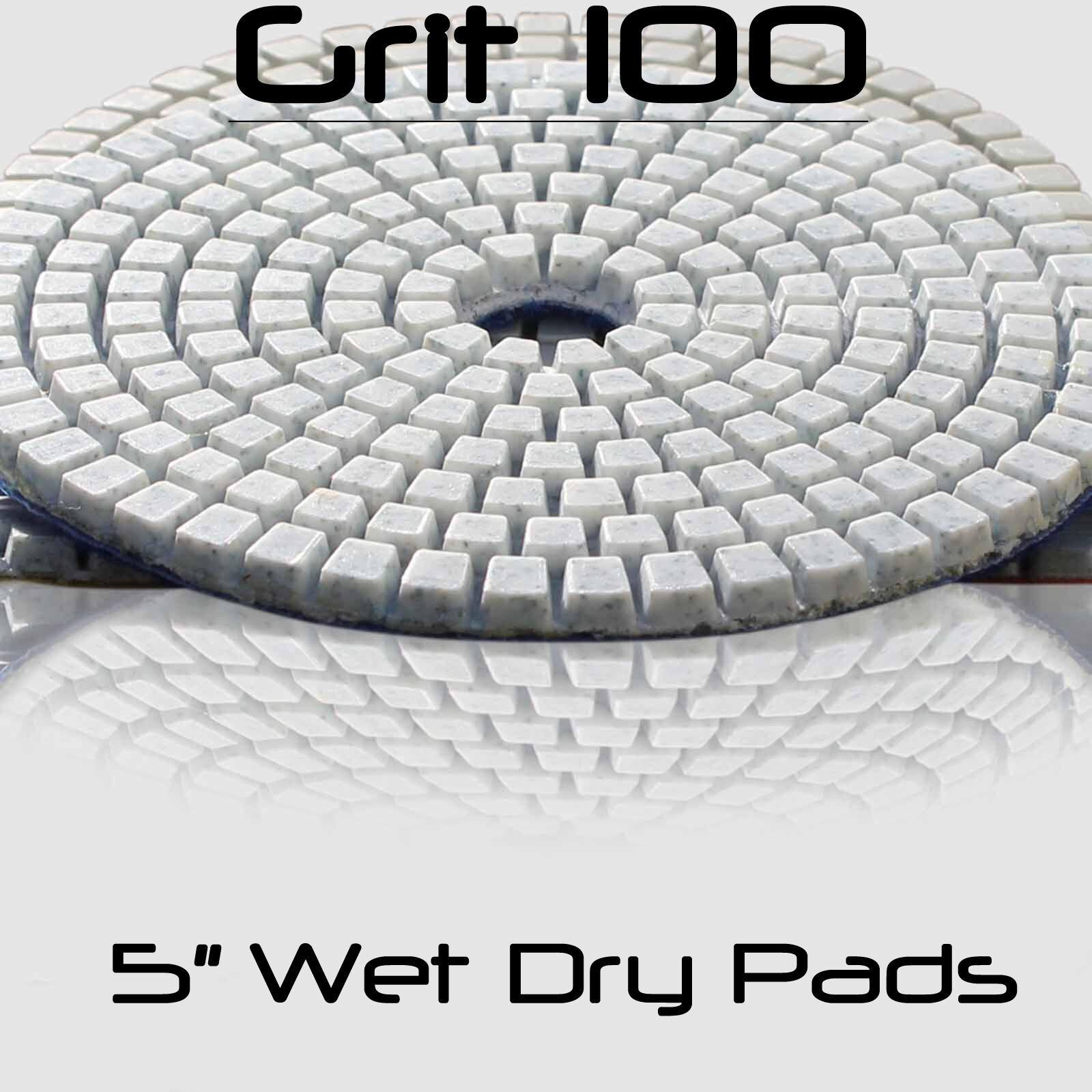 "28+1 PC 4/"" 5/"" Diamond Granite Polishing Pad Abrasive Disc Concrete Sander Glass"