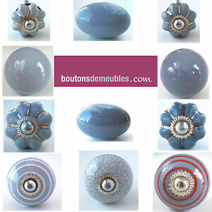 boutons de meubles poign es de porte placard tiroir porcelaine gris grey knobs ebay. Black Bedroom Furniture Sets. Home Design Ideas