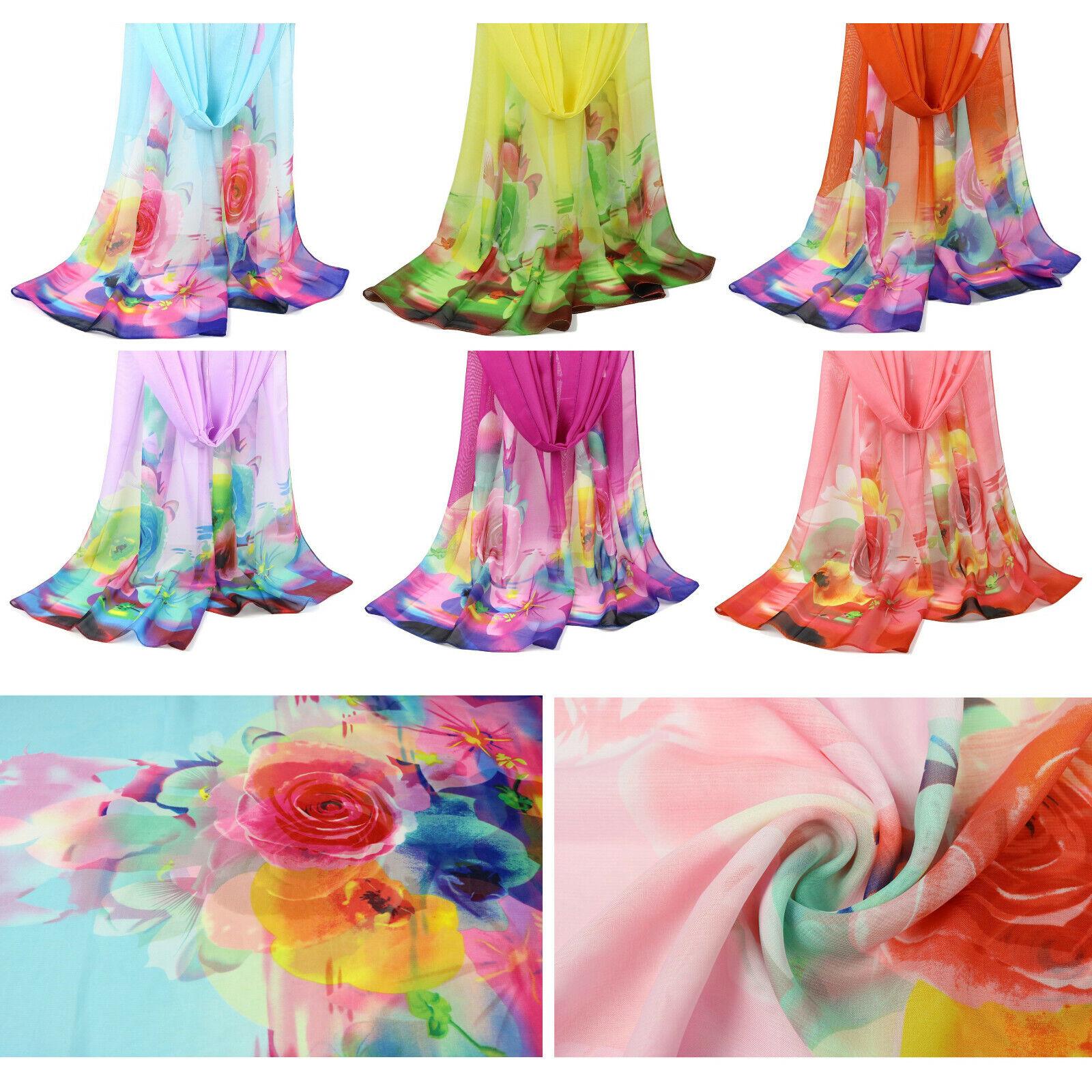 Women's Rose Flower Natural Dye Chiffon Lightweight Beach Wrap Fashion Scarf Clothing, Shoes & Accessories