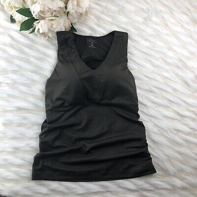 ATHLETA Women's Tank Top Size 38C Workout Yoga Fitness Built-in Bra Olive Green